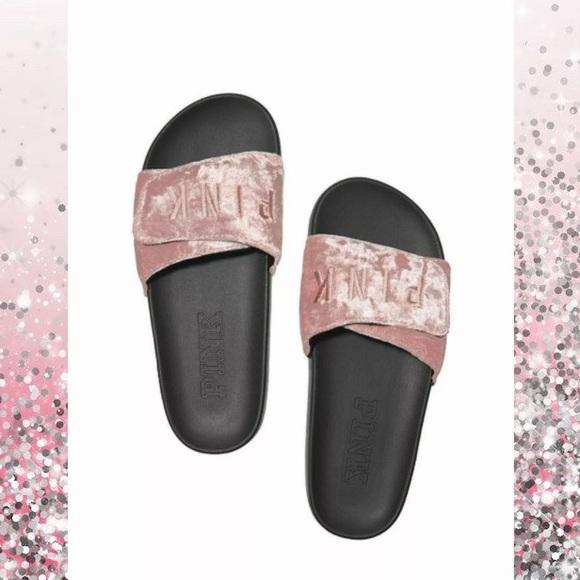 f1366f651f860 VS PINK Luxe Velvet Crossover Slides L NWT